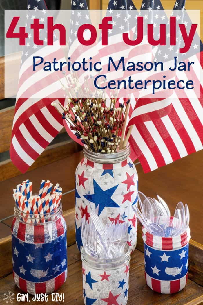 Patriotic Mason Jar Centerpiece with American Flags.