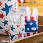 Patriotic Mason Jar Centerpiece for 4th of July
