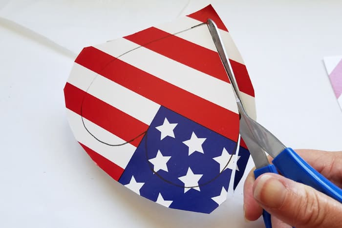 Cutting out heart shape from american flag plate