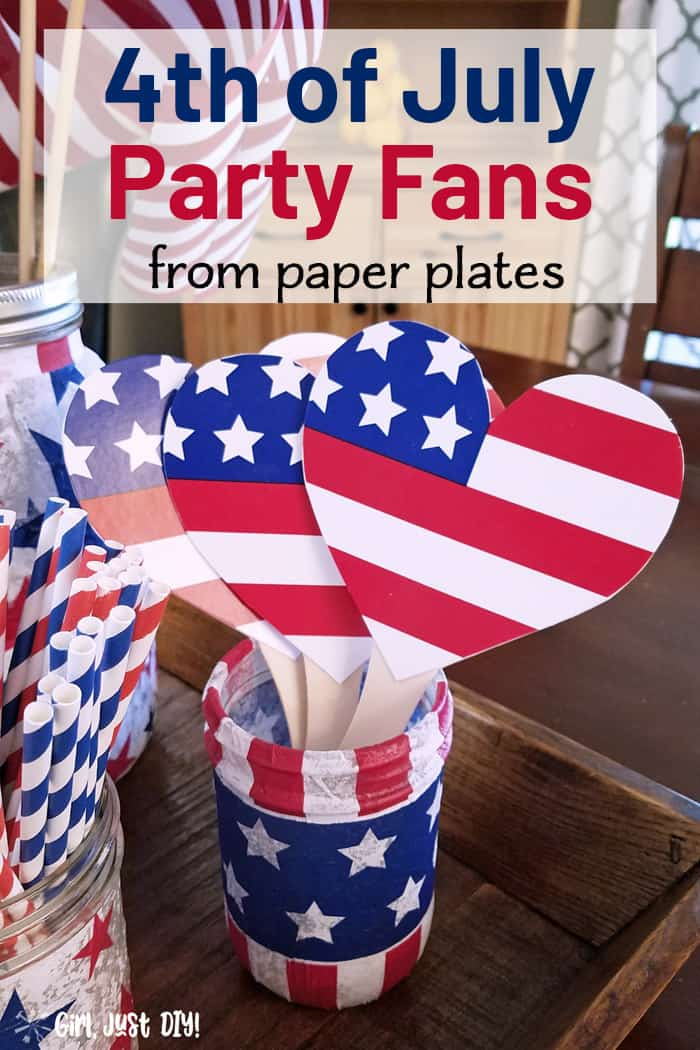 Paper plate fans in decorated jar with text overlay