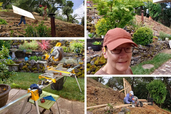 Collage of images from building a shed on a hill.