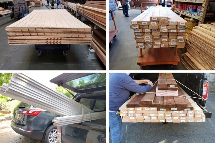Collage of construction lumber and wood purchases