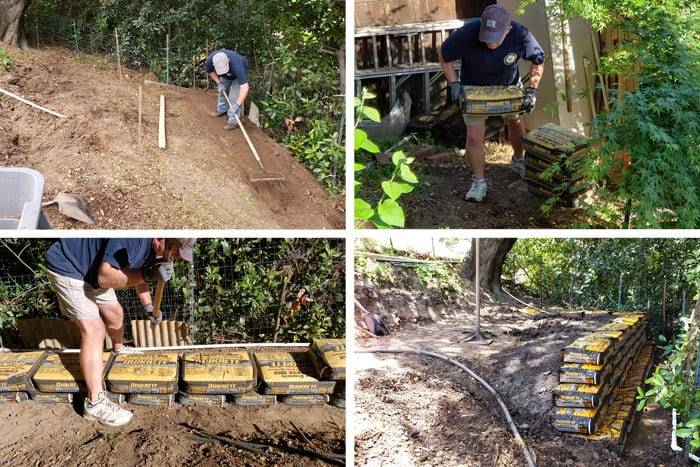 Collage of building a retaining wall with cement bags