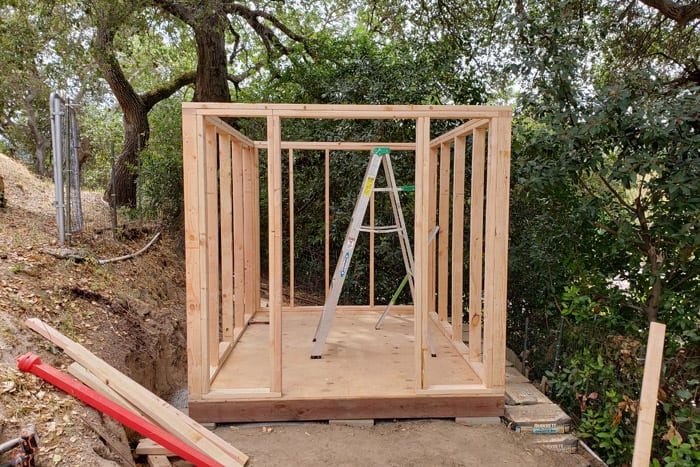walls framed for 8x10 storage shed
