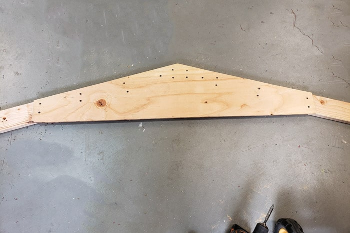 Gusset screwed to truss 2x4s