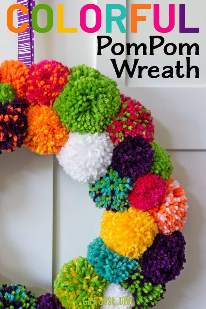 Colorful DIY Pompom Wreath closeup with text