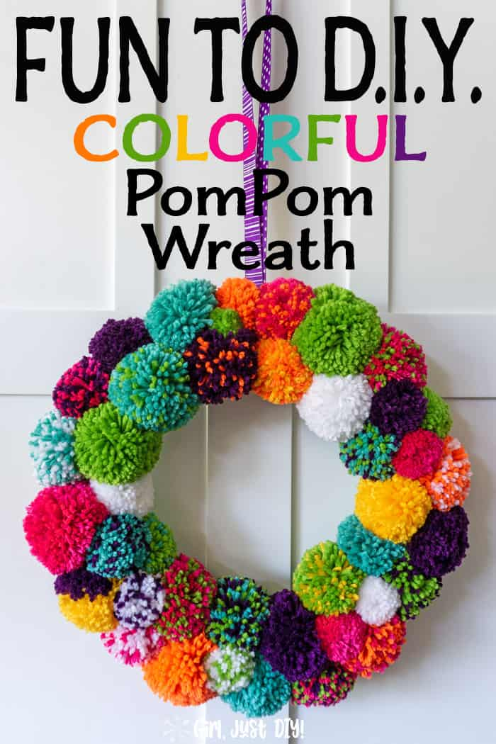 Tall picture of colorful pompom wreath with text overlay