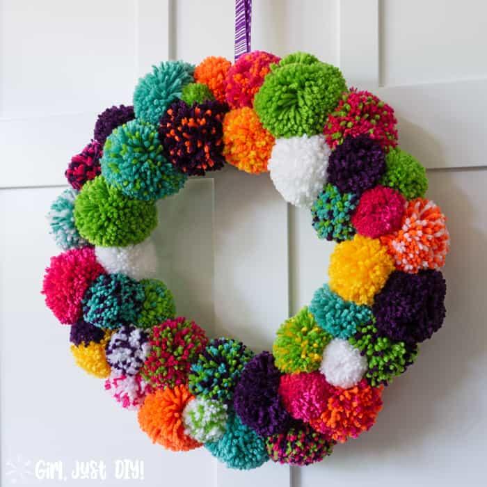 Closeup of colorful DIY Pompom Wreath