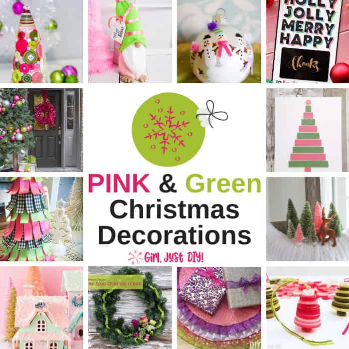 Collage of pink and green christmas decorations.