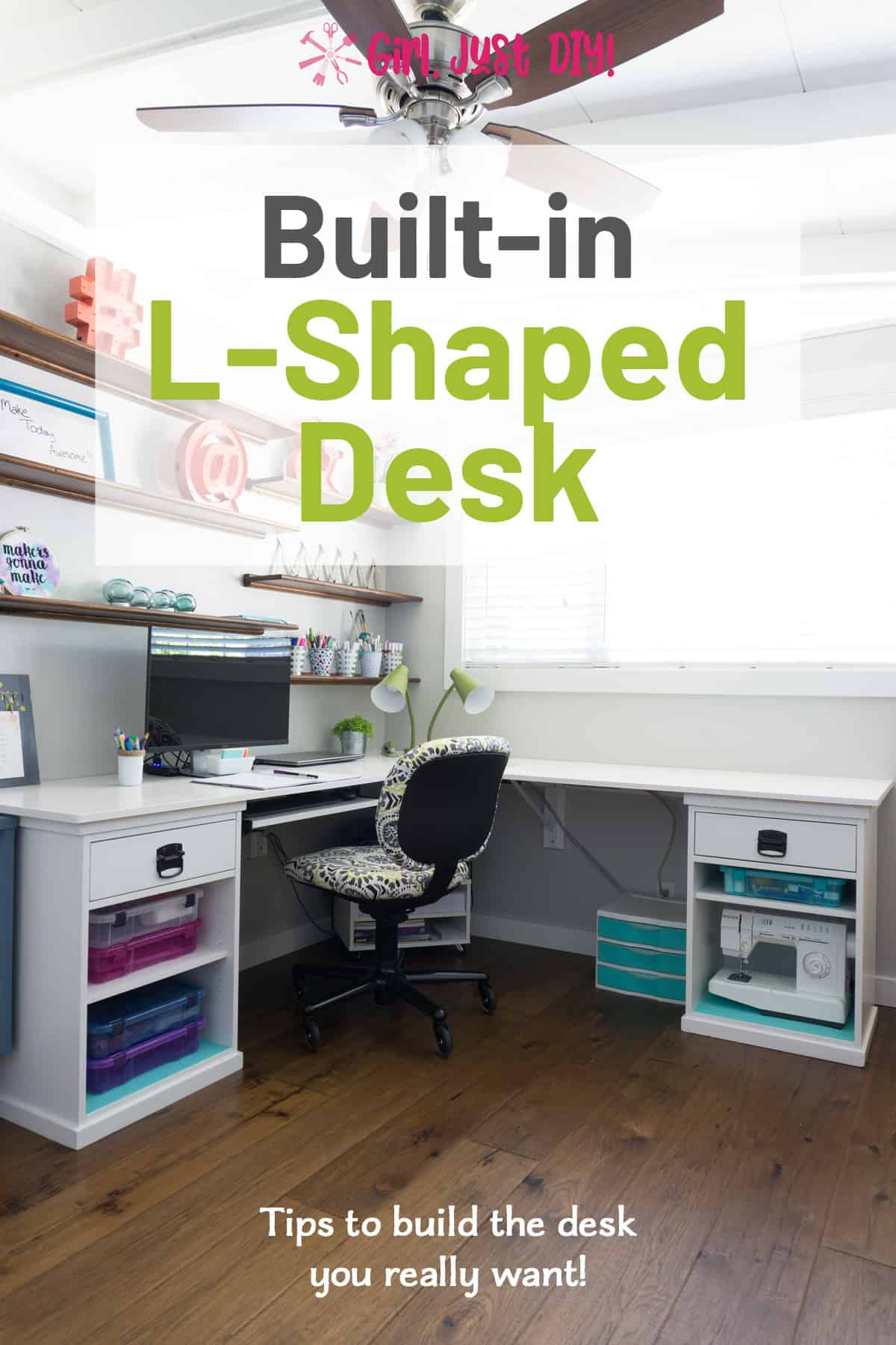 Corner Desk with desk chair and computer with text overlay for Pinterest